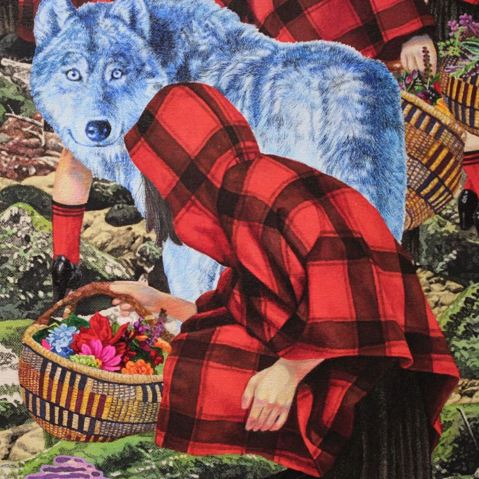 "Close up of Naomi Okudo's ""The Girls Are Walking to the House with the Wolves"" at Volta NY (Photo by KD Diamond) #ArmoryArtsWeek #Art #NYC #NaomiOkudo #Painting"