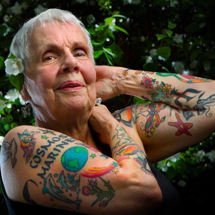 Helen Lambin #HelenLambin #Badass #Tattooed #Elders #Grandma #ElderlyWomen #Woman #tattooedgrandma