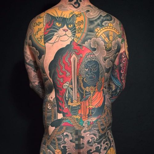 Incredible work from the incredible Horitomo State of Grace #horitomo #stateofgrace #Japanese #FudoMyoo #Fudo #sword #deity #monmoncat #cat #DharmaWheel #clouds #waves #jewelry #fire #rope #tattoooftheday
