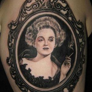 Tattoos Of Icons, Bette Davis portrait #hollywood #cinema #moviestars #blackandgrey #portrait #bettedavis #victorianframe
