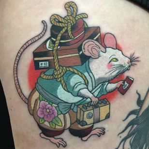 Tattoo by Wendy Pham #WendyPham #TaikoGallery #WenRamen #newtraditional #color #Japanese #mashup #mouse #moving #travel #suitcases #peony #animal #flower #floral #cute