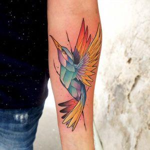 Hummingbird. #DustyBrasseur #watercolor #nature #hummingbird #armtattoo #stainedglass