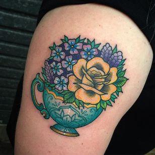 Tea cup and flowers tattoos for sisters. By Sami Locke. #sisters #flowers #teacup #traditional #SamiLocke