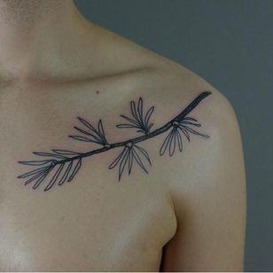 Vegetal tattoo by Victor Zabuga #VictorZabuga #minimalistic #blackwork #conceptual #vegetal
