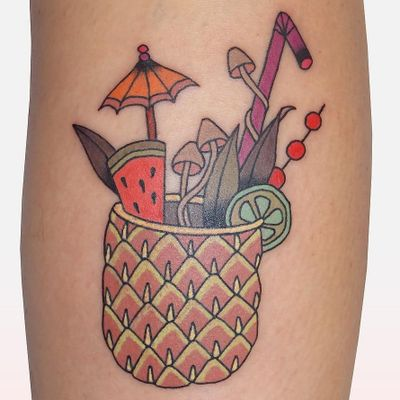 Fruit cocktail tattoo by Brindi #Brindi #foodtattoos #color #traditional #Japanese #mashup #pineapple #umbrella #straw #cocktail #watermelon #mushrooms #cute #drink #alcohol #fruit