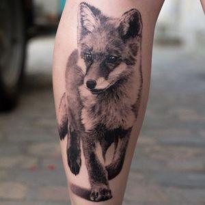 Fancy fox, by Angelique Grimm. (via IG—angeliquegrimmtattoo) #blackandgrey #realism #animal #portrait #angeliquegrimm