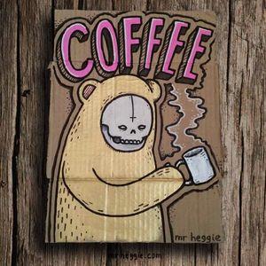 Original coffee drawing by Mr Heggie. #mrheggie #art #coffee #bear