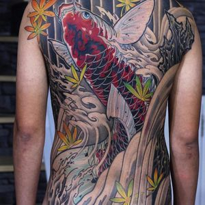 Koi swimming upstream by Aod #aodnttattoo #aod #koi #asian #waves #leaves #color #Japanese #fish #nature #tattoooftheday
