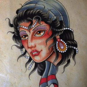Veiled Lady by Jeroen Gardenier (via IG-jeroengardenier) #flashfriday #flash #flashart #ladyhead #traditional #color #veil #scarf #JeroenGardenier