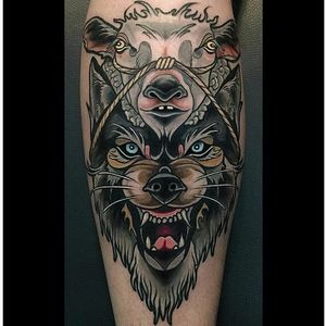 Wolf In Sheep's Clothing Tattoo by Brian Povak #wolfinsheepsclothing #wolf #sheep #neotraditional #BrianPovak
