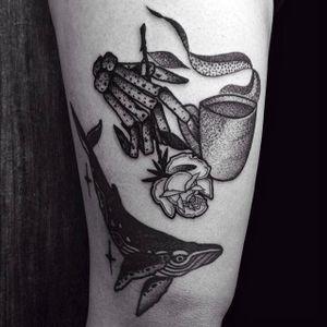 Skeleton hand, Rose and Coffee Tattoo by Moises Jimenez @thecrocodile666 #MoisesJimeneztattoo #Black #Blackwork #Blacktattoo #Skeleton #Hand #Rose #Coffee