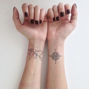 Map and compass by Lays Alencar #LaysAlencar #map #compass #linework #tattoooftheday