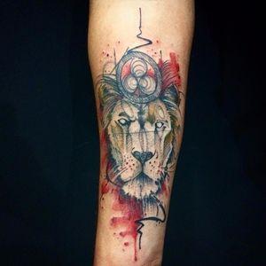 Leão majestoso #LeoValquilha #tatuadoresdobrasil #tatuadoresbrasileiros #watercolor #aquarela #lion #leao