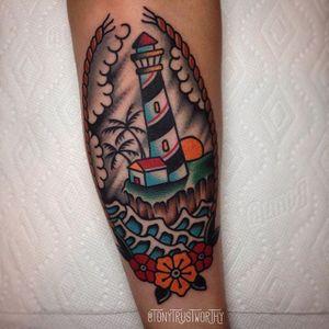 Lighthouse Tattoo by Tony Talbert #TraditionalTattoos #OldSchoolTattoos #ClassicTattoos #TraditionalTattoo #TraditionalArtists #TonyTalbert