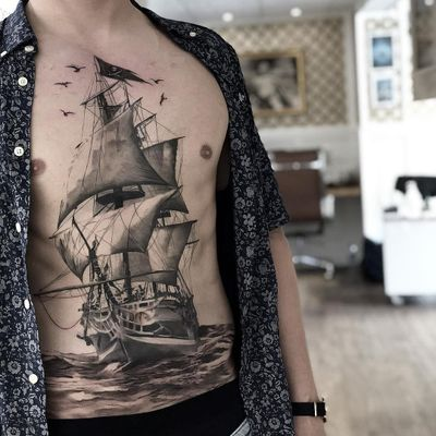 Like ships passing in the night...Tattoo by Daniel Paarup #DanielPaarup #sailortattoos #realism #illustrative #mashup #birds #ship #boat #sails #sailing #ocean #sea #chestpiece #stomachtattoo #detailed #seascape