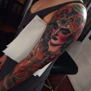 Neo-Traditional Sleeve Tattoo by Emily Rose Murray #neotraditional #lady #neotraditionalsleeve #sleeve #inspiration #EmilyRoseMurray