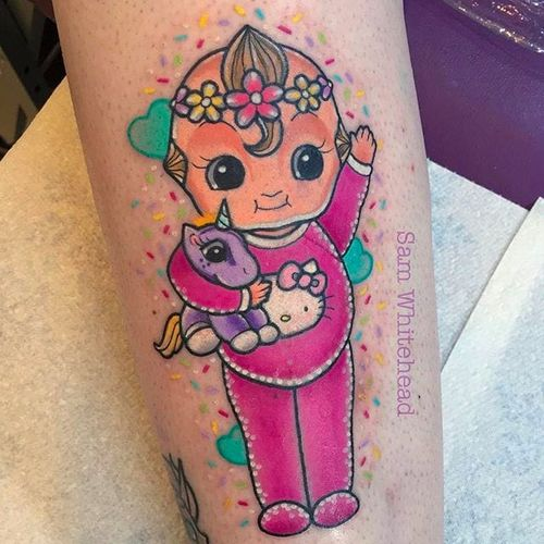 Pink Baby Tattoo by Sam Whitehead @Samwhiteheadtattoos #Samwhiteheadtattoos #Colorful #Girly #Girlytattoo #Neotraditional  #Blindeyetattoocompany #Leeds #UK #Baby #pink