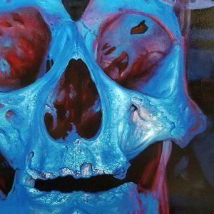 A close up of one of Christian Perez's skull paintings in progress (IG—christian1perez). #ChristianPerez #fineart #oilpaintings #skulls