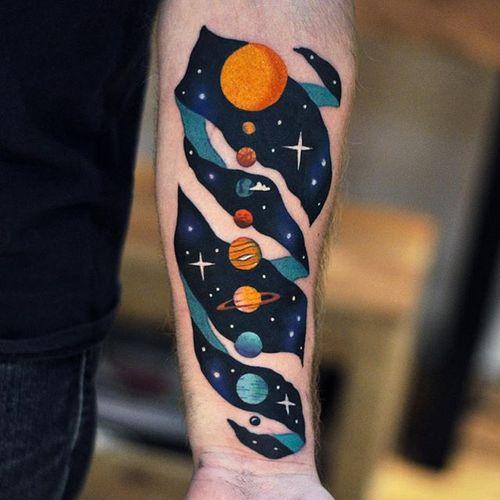 Tattoo by David Cote @thedavidcote #space #color #unique #planet #solarsystem