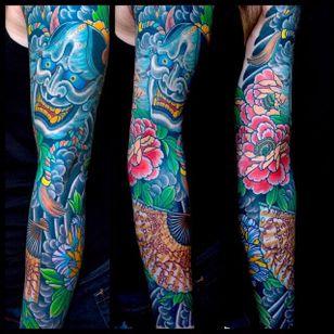 Hannya and peony sleeve. Mike Rubendall. #hannya #mikerubendall #kingsavenue #japanesetattoo #peony #sleeve