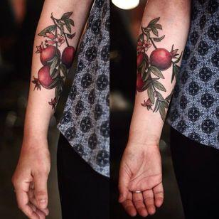 Garden-inspired tattoo by Alice Carrier. #AliceCarrier #flower #garden #plant #neotraditional #pomegranate #fruit