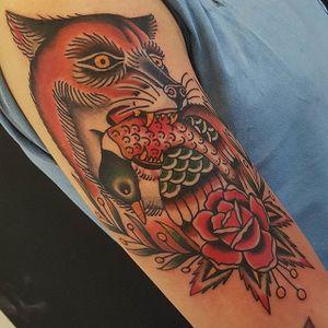 Fox Tattoo by Jesper Jørgensen #fox #foxtattoo #traditional #traditionaltattoo #oldschool #oldschooltattoo #darkart #darktraditional #JesperJorgensen