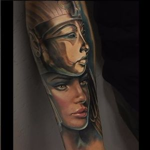 Ancient Egypt tattoo by David Garcia #DavidGarcia #art #realistic #portrait #ancientegypt #egypt #cleopatra #tutankhamun