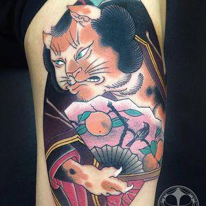 Cat tattoo by Junior #Junior #favoritetattoo #Japanese #color #cat #fan #peaches #bird #nature #kimono #ukiyoe #animal