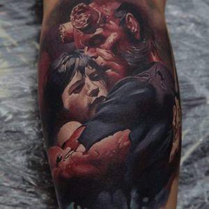 Hellboy in color realism by Dmitriy Samohin. #Hellboy #darkhorse #comics #graphicnovel #character #colorrealism #lovers #DmitriySamohin