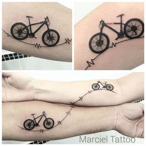 Bike tattoo by Marciel Silva. #bike #fixie #biker #cyclist #biking #sport #matching #couple