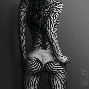 An imaginary bodysuit by Watsun Atkinsun (IG—watsunatkinsun). #blackwork #fineart #illustrations #IlluminatedTrasformations #multimedia #ornamental #WatsunAtkinsun