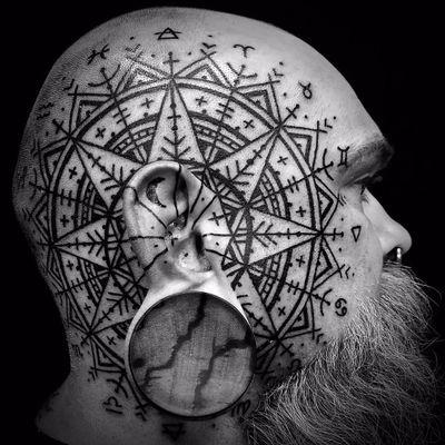 Warrior markings by Watsunatkinsun #Watsunatkinsun #blackwork #linework #dotwork #tribal #primitive #ornamental #pattern #zodiac #moon #stars #map #symbols #tattoooftheday