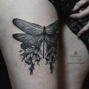 Dragonfly tattoo by Monika Malewska #MonikaMalewska #monochrome #dragonfly