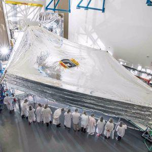 JWST's massive collapsible sunshield.#BrandiSmart #JonathanStrickalnd #JWST #MaggieMasetti #NASA #space #telescope