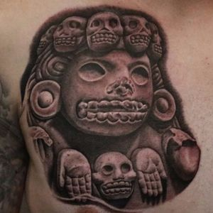 Cihuateotl, i.e. spirits of woman who died in childbirth, from Goethe's portfolio (IG—tattoosbygoethe). #blackandgrey #Cihuateot #Goethe #Mesoamerican #neoAzteca #preHispanic #realism #statuesque
