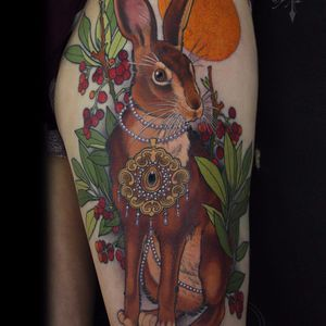 Fancy rabbit by Antony Flemming #AntonyFlemming #neotraditional #color #hare #rabbit #jackrabbit #sun #fall #animal #nature #leaves #cranberries #jewelry #pearls #gold #filigree #tattoooftheday