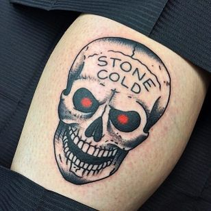 Something about having Stone Cold on the forehead of a skull just makes it even more badass. Tattoo by Chris Jenko. #SteveAustin #StoneCold #StoneColdSteveAustin #wrestling #WWF #WWE #ChrisJenko #skull #traditional