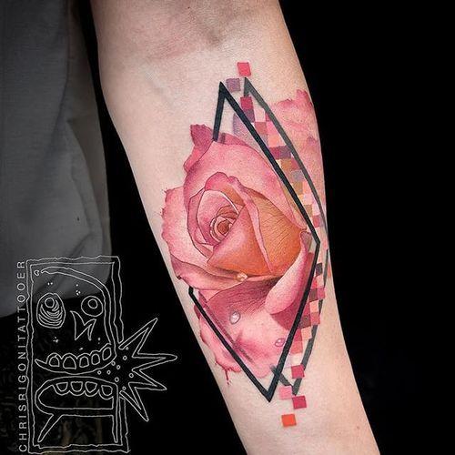 Prisms by Chris Rigoni (via IG-chrisrigonitattooer) #flower #watercolor #surrealism #geometric #rose #pastel #chrisrigoni