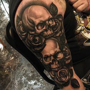Black and grey skulls and roses half sleeve by Jay Quarles. #blackandgrey #realism #skull #flower #rose #JayQuarles