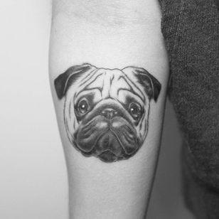 Cute blackwork pug tattoo by Georgie Harrison #Pug #pugtattoo #dog #blackwork #linework #GeorgieHarrison