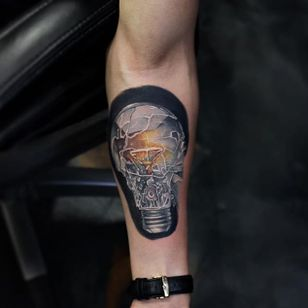 Shattered light bulb by Poch Tattoos. #realism #colorrealism #PochTattoos #lightbulb #shattered