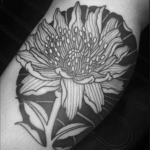 Blackwork by Adam Forero #AdamForero #blackwork #flower #tattoooftheday