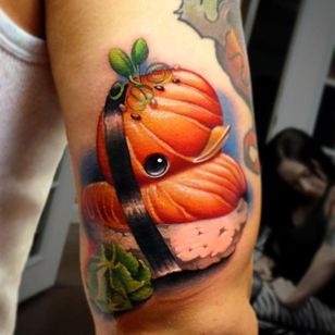 Sushi rubber ducky tattoo by Steven Compton. #newschool #rubberduck #StevenCompton #rubberducky #sushi