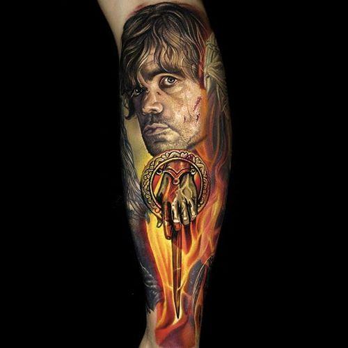 Game of Thrones Tyrion Lannister portrait by Nikko Hurtado #NikkoHurtado #color #realism #got #gameofthrones #tyrionlannister #theimp #portrait #fire #tattoooftheday
