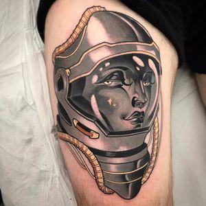 Space Girl by Vale Lovette #ValeLovette #blackandgrey #color #gold #neotraditional #ladyhead #spacesuit #spaceman #space #helmet #stars #lady #galaxy #tattoooftheday