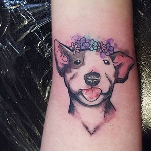 Cheeky watercolor bull terrier tattoo by @amzkelso via Instagram. #watercolor #illustrative #flowers #dog #bullterrier #amzkelso