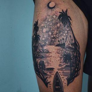 Landscape tattoo by Noel'le Longhaul #NoelleLonghaul #landscapetattoo #blackwork #linework #dotwork #Vietnam #boat #plants #trees #jungle #ocean #river #sky #stars #mountains #cabin #tattoooftheday