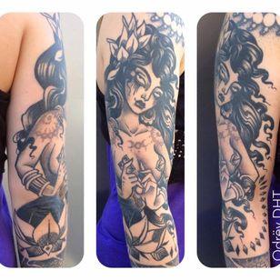 Sexy tattoo by Odrëy #Odrëy #illustrative #newschool #neotraditional #lady #tattooedlady