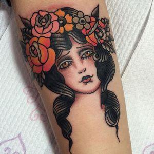 Girl Tattoo by Aaron Hingston #girlhead #girlheadtattoo #oldschoolgirlhead #oldschoolgirltattoos #traditionalgirl #traditionalgirltattoos #ladytattoo #AaronHingston