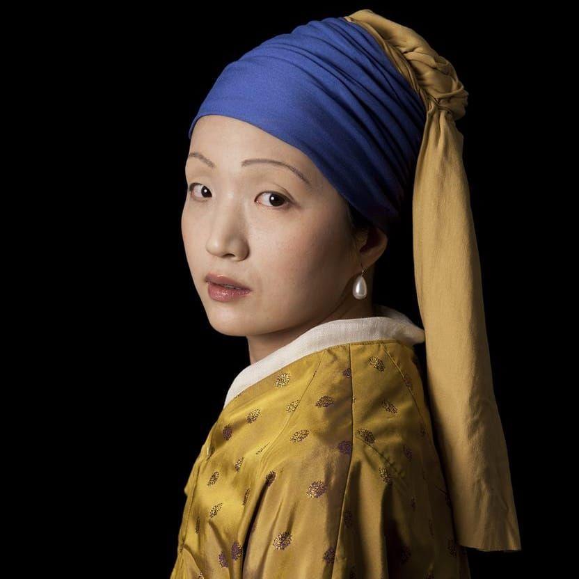 E2 – Kleinveld & Julien, Ode to Vermeer's Girl with a Pearl Earring (Photo by KD Diamond) #ArmoryArtsWeek #Art #NYC #Painting